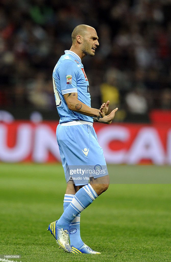 Paolo Cannavaro of SSC Napoli reacts during the Serie A match between AC Milan and SSC Napoli at San Siro Stadium on April 14, 2013 in Milan, Italy.