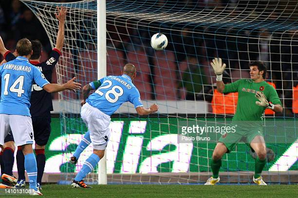 Paolo Cannavaro of SSC Napoli scores the second goal during the Serie A match between SSC Napoli and Cagliari Calcio at Stadio San Paolo on March 9...