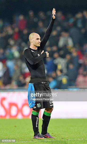 Paolo Cannavaro say hello to the Napoli's supporters after the Serie A match between SSC Napoli and US Sassuolo November 28 2016 in Naples Italy