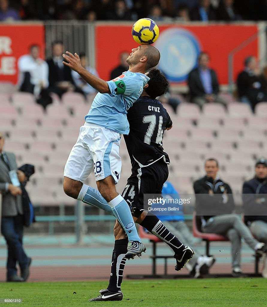 <a gi-track='captionPersonalityLinkClicked' href=/galleries/search?phrase=Paolo+Cannavaro&family=editorial&specificpeople=728856 ng-click='$event.stopPropagation()'>Paolo Cannavaro</a> SSC Napoli and <a gi-track='captionPersonalityLinkClicked' href=/galleries/search?phrase=Julio+Ricardo+Cruz+-+Argentinian+Soccer+Player&family=editorial&specificpeople=490887 ng-click='$event.stopPropagation()'>Julio Ricardo Cruz</a> SS Lazio in action during the Serie A match between Napoli and Lazio at Stadio San Paolo on November 22, 2009 in Naples, Italy.
