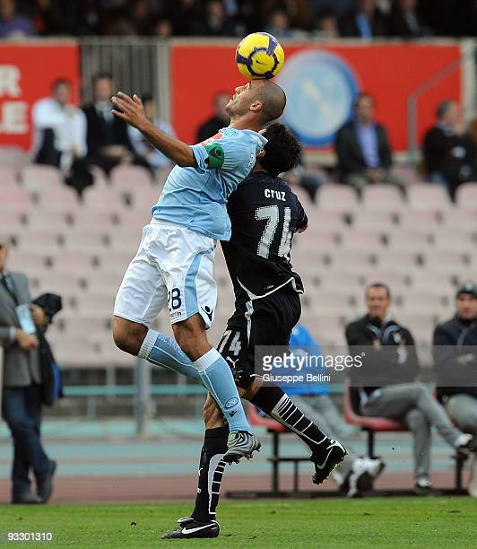 Paolo Cannavaro SSC Napoli and Julio Ricardo Cruz SS Lazio in action during the Serie A match between Napoli and Lazio at Stadio San Paolo on...