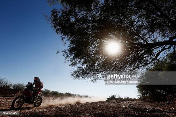 Paolo Ceci of Italy riding on and for HONDA CRF450RALLY TEAM HRC compete on day 10 stage 9 during the 2016 Dakar Rally on January 12 2016 in near...