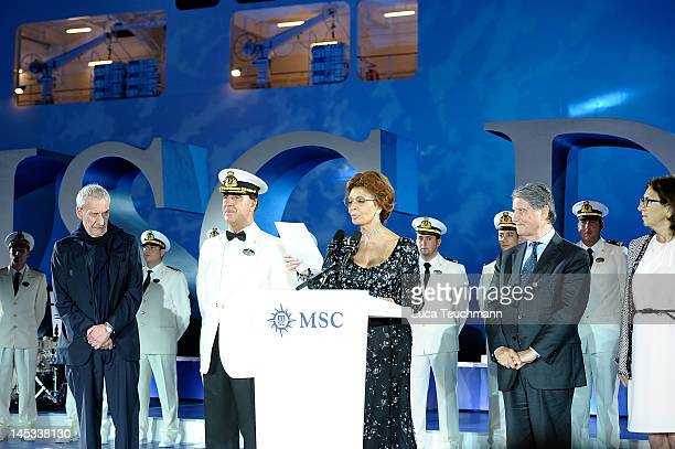 Paolo Conte Giuliano Bossi Sophia Loren and Gianluigi Aponte attend the MSC Divina Cruise Ship Launch on May 26 2012 in Marseille France