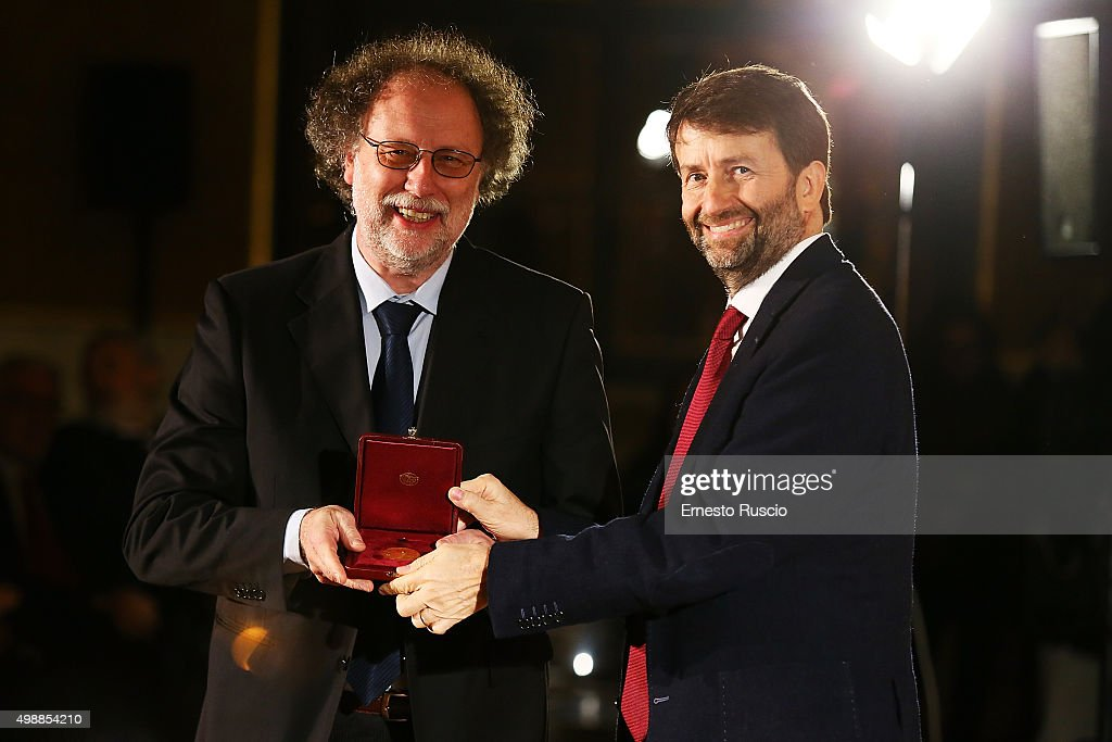 Paolo De Bernardis and Minister of Culture <a gi-track='captionPersonalityLinkClicked' href=/galleries/search?phrase=Dario+Franceschini&family=editorial&specificpeople=4851356 ng-click='$event.stopPropagation()'>Dario Franceschini</a> attend the Vittorio De Sica 2015 Awards Ceremony at Palazzo Barberini on November 26, 2015 in Rome, Italy.
