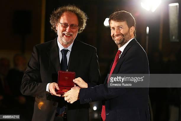 Paolo De Bernardis and Minister of Culture Dario Franceschini attend the Vittorio De Sica 2015 Awards Ceremony at Palazzo Barberini on November 26...