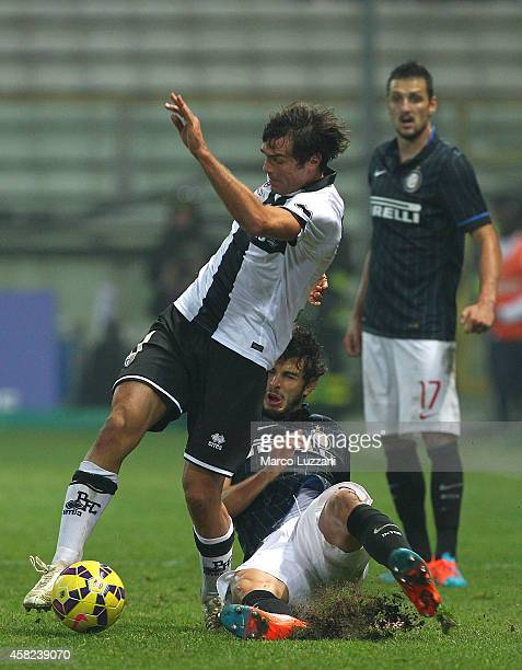 Paolo De Ceglie of Parma FC is challenged by Andrea Ranocchia of FC Internazionale Milano during the Serie A match between Parma FC and FC...