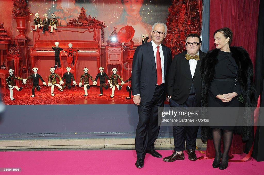 Paolo de Cesare (Printemps CEO), Kristin Scott Thomas and Alber Elbaz attend Christmas Illuminations Launch at the Printemps Store in Paris.
