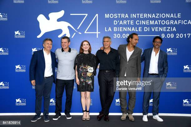 Paolo Del Brocco Matt Damon Julianne Moore George Clooney Alexandre Desplat and Grant Heslov attend the 'Suburbicon' photocall during the 74th Venice...