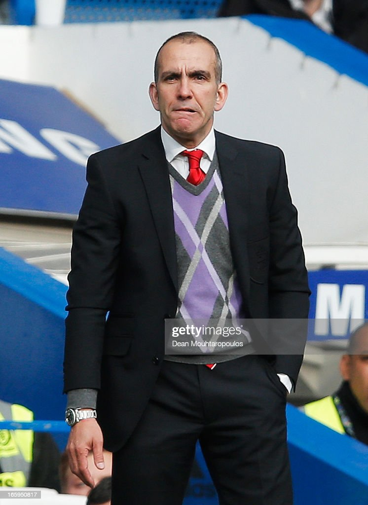 Paolo Di Canio, manager of Sunderland bites his lip during the Barclays Premier League match between Chelsea and Sunderland at Stamford Bridge on April 7, 2013 in London, England.