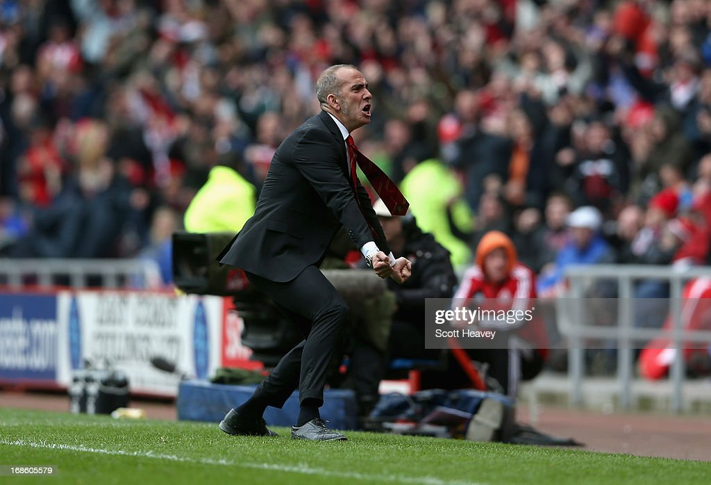 <a gi-track='captionPersonalityLinkClicked' href=/galleries/search?phrase=Paolo+Di+Canio&family=editorial&specificpeople=215237 ng-click='$event.stopPropagation()'>Paolo Di Canio</a> manager of Sunderland celebrates after Phillip Bardsley scored a goal during the Barclays Premier League match between Sunderland and Southampton at the Stadium of Light on May 12, 2013 in Sunderland, England.
