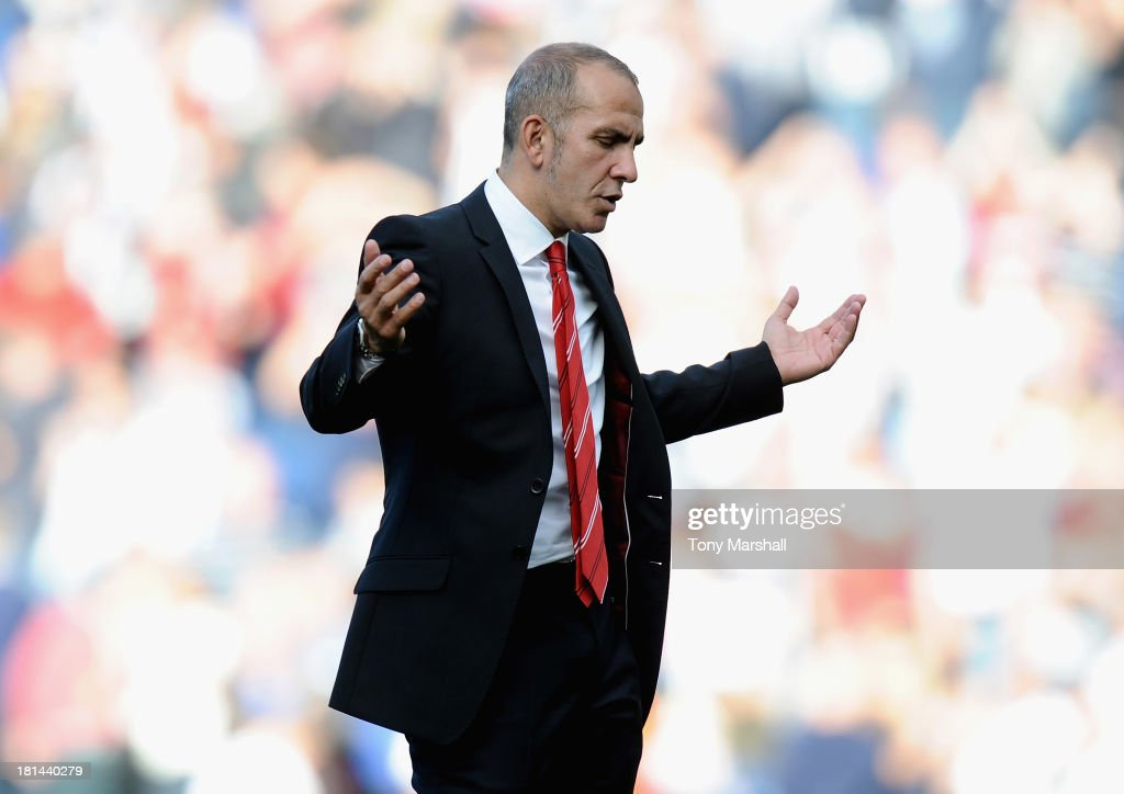 <a gi-track='captionPersonalityLinkClicked' href=/galleries/search?phrase=Paolo+Di+Canio&family=editorial&specificpeople=215237 ng-click='$event.stopPropagation()'>Paolo Di Canio</a>, manager of Sunderland gestures at the end of the Barclays Premier League match between West Bromwich Albion and Sunderland at The Hawthorns on September 21, 2013 in West Bromwich, England.