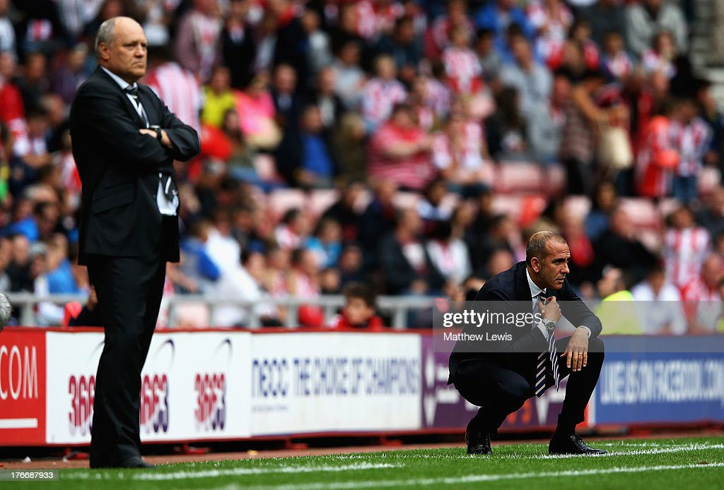 <a gi-track='captionPersonalityLinkClicked' href=/galleries/search?phrase=Paolo+Di+Canio&family=editorial&specificpeople=215237 ng-click='$event.stopPropagation()'>Paolo Di Canio</a>, manager of Sunderland looks on during the Barclays Premier League match between Sunderland and Fulham at the Stadium of Light on August 17, 2013 in Sunderland, England.