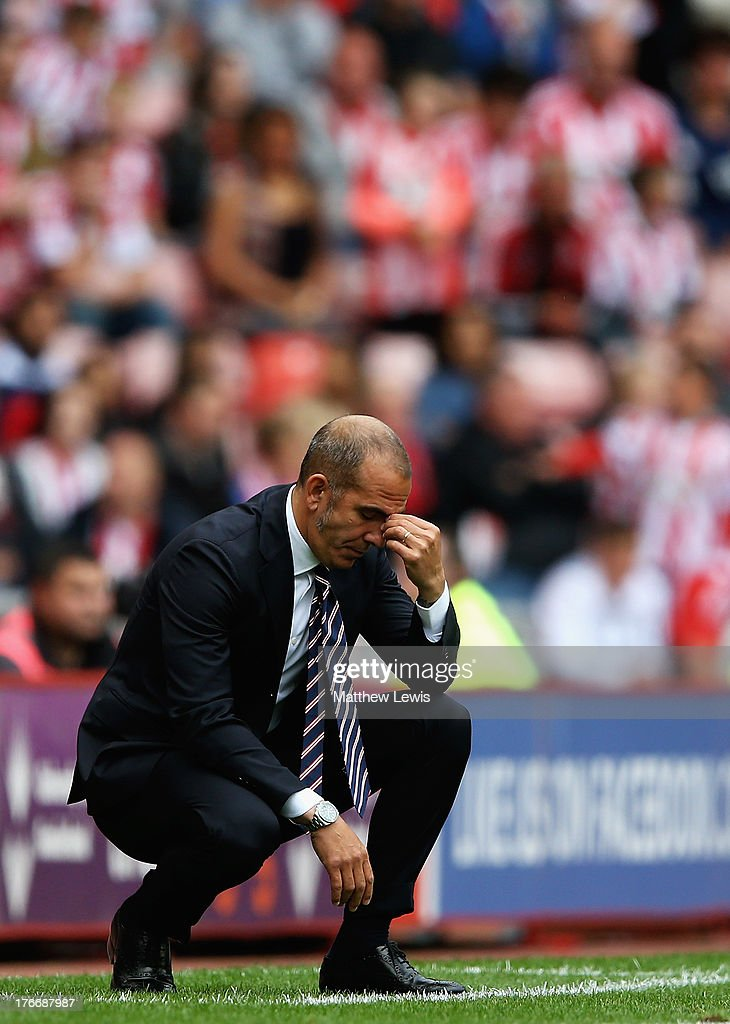 Paolo Di Canio manager of Sunderland looks on during the Barclays Premier League match between Sunderland and Fulham at the Stadium of Light on...