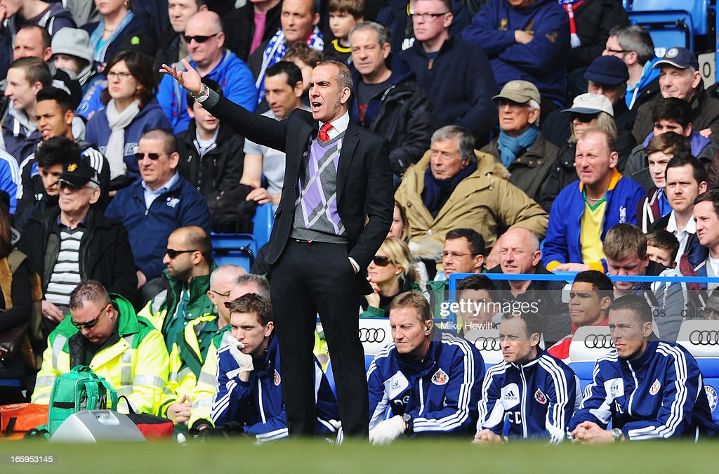 Paolo Di Canio, manager of Sunderland reacts during the Barclays Premier League match between Chelsea and Sunderland at Stamford Bridge on April 7, 2013 in London, England.