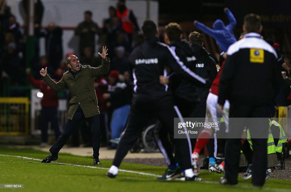 <a gi-track='captionPersonalityLinkClicked' href=/galleries/search?phrase=Paolo+Di+Canio&family=editorial&specificpeople=215237 ng-click='$event.stopPropagation()'>Paolo Di Canio</a>, manager of Swindon Town celebrates his team's second goal during the Capital One Cup Fourth Round match between Swindon Town and Aston Villa at the County Ground on October 30, 2012 in Swindon, England.