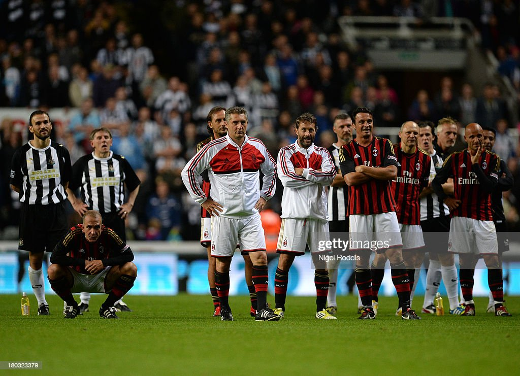 Paolo Di Canio (L) of AC Milan Glorie during Steve Harper's testimonial match between Newcastle United and AC Milan Glorie at St James' Park on September 11, 2013 in Newcastle upon Tyne, England.
