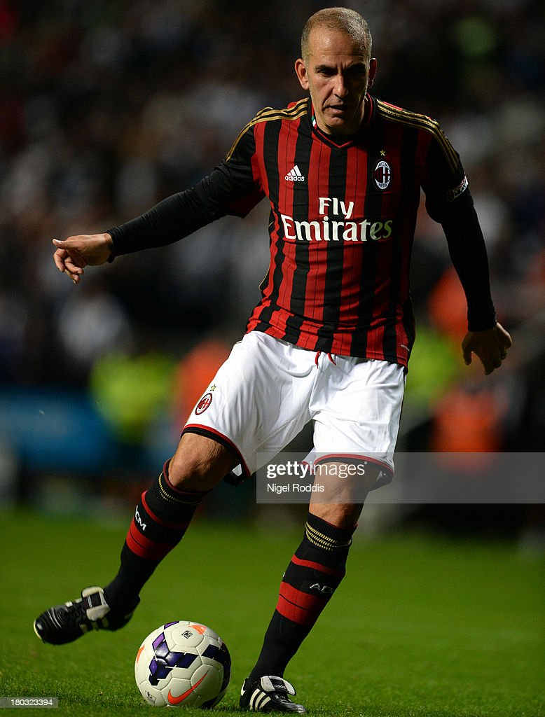 <a gi-track='captionPersonalityLinkClicked' href=/galleries/search?phrase=Paolo+Di+Canio&family=editorial&specificpeople=215237 ng-click='$event.stopPropagation()'>Paolo Di Canio</a> of AC Milan Glorie during Steve Harper's testimonial match between Newcastle United and AC Milan Glorie at St James' Park on September 11, 2013 in Newcastle upon Tyne, England.