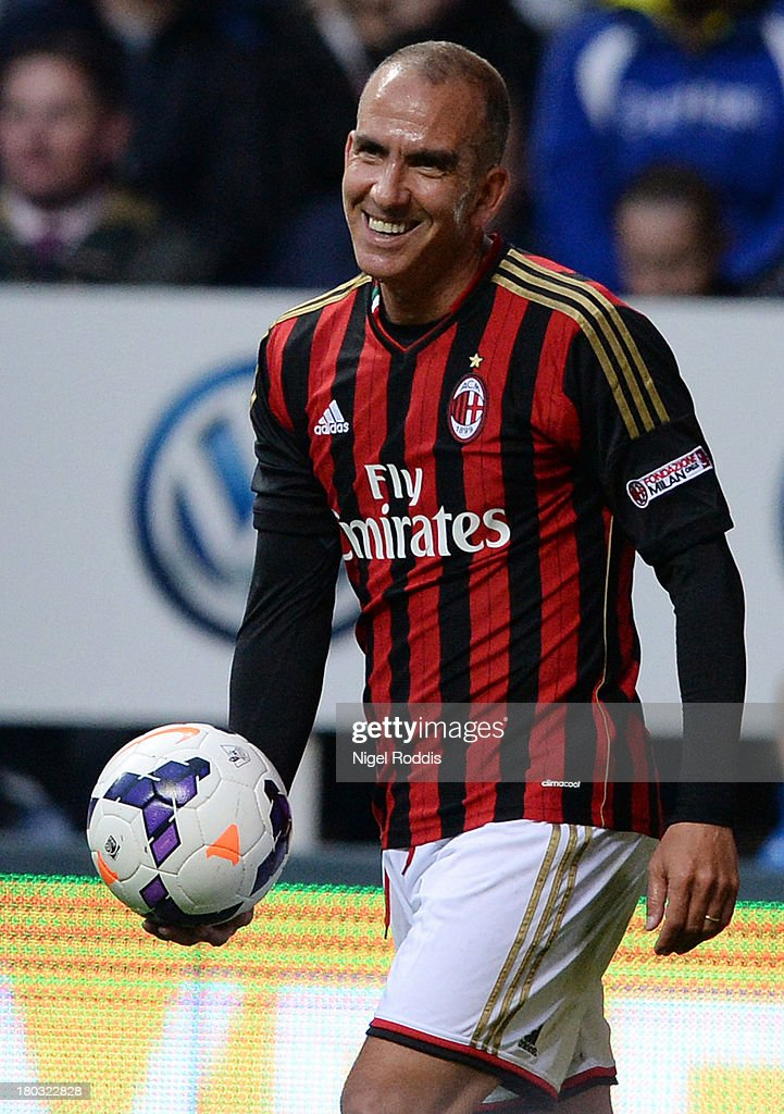 <a gi-track='captionPersonalityLinkClicked' href=/galleries/search?phrase=Paolo+Di+Canio&family=editorial&specificpeople=215237 ng-click='$event.stopPropagation()'>Paolo Di Canio</a> of AC Milan Glorie is seen during Steve Harper's testimonial match between Newcastle United and AC Milan Glorie at St James' Park on September 11, 2013 in Newcastle upon Tyne, England.