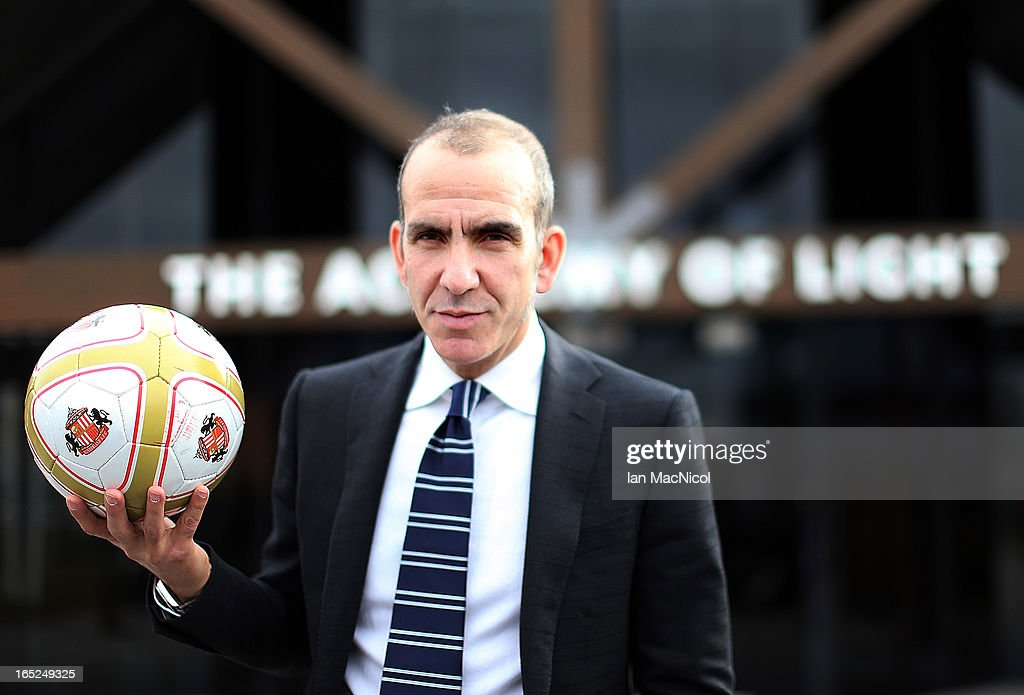 Paolo Di Canio poses with a ball after being unveiled as the new Sunderland manager at The Academy of Light training ground on April 02 2013 in...