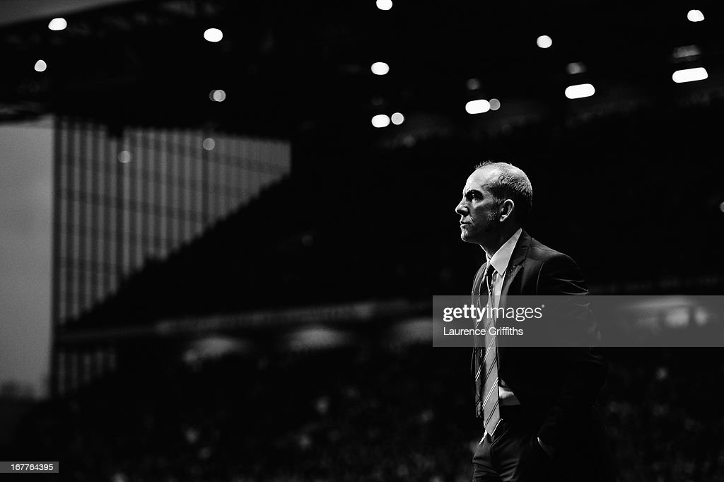 Paolo Di Canio the Sunderland manager looks on from the touchline during the Barclays Premier League match between Aston Villa and Sunderland at...