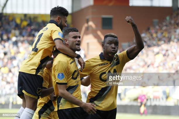 Paolo Fernandes of NAC Breda Rai Vloet of NAC Breda Thierry Ambrose of NAC Breda during the Dutch Eredivisie match between NAC Breda and PSV...