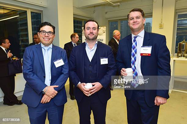 Paolo Garcia Evan Seiden and Matt Petrula attend The Commercial Observer Financing Commercial Real Estate at 666 Fifth Avenue on November 15 2016 in...