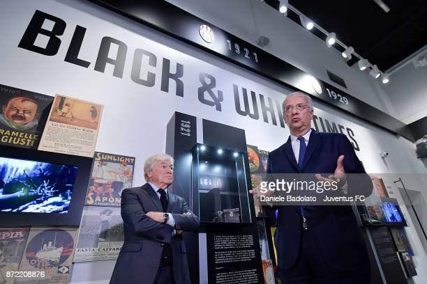Paolo Garimberti and Walter Veltroni during the Juventus 120 Years Exhibition Opening at Juventus Museum on November 9 2017 in Turin Italy