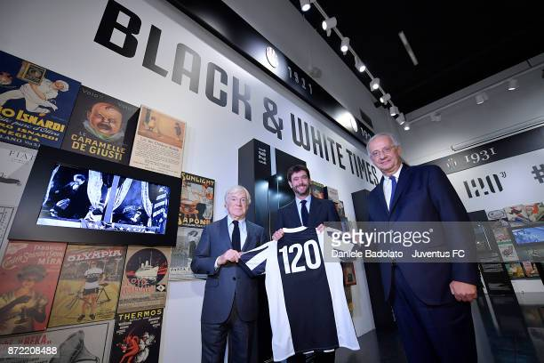 Paolo Garimberti Andrea Agnelli and Walter Veltroni during the Juventus 120 Years Exhibition Opening at Juventus Museum on November 9 2017 in Turin...