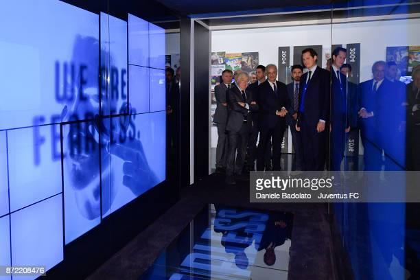 Paolo Garimberti Walter Veltroni and John Elkann during the Juventus 120 Years Exhibition Opening at Juventus Museum on November 9 2017 in Turin Italy