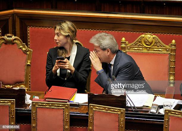 Paolo Gentiloni and Marianna Madia attend the Senat Assembly To Vote The Confidence To The Government on December 14 2016 in Rome Italy