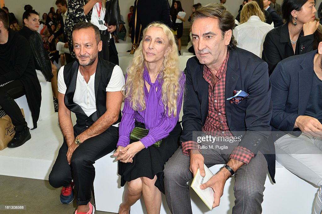 Paolo Gerani, <a gi-track='captionPersonalityLinkClicked' href=/galleries/search?phrase=Franca+Sozzani&family=editorial&specificpeople=639425 ng-click='$event.stopPropagation()'>Franca Sozzani</a> and Beppe Angiolini attend the Iceberg show as a part of Milan Fashion Week Womenswear Spring/Summer 2014 on September 20, 2013 in Milan, Italy.