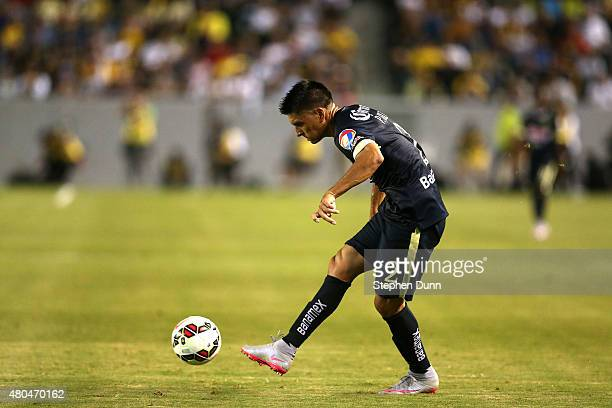 Paolo Goltz 32 of Club America passes the ball against the Los Angeles Galaxy in the International Champions Cup 2015 at StubHub Center on July 11...