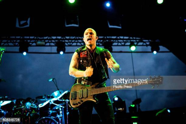 Paolo Gregoletto of the american metal band Trivium pictured on stage as the perform live at Carroponte Milan Italy