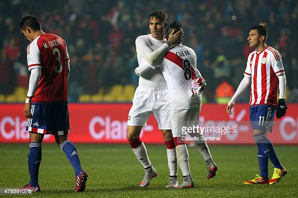 Paolo Guerrero and Christian Cueva of Peru celebrate after the 2015 Copa America Chile Third Place Playoff match between Peru and Paraguay at Ester...