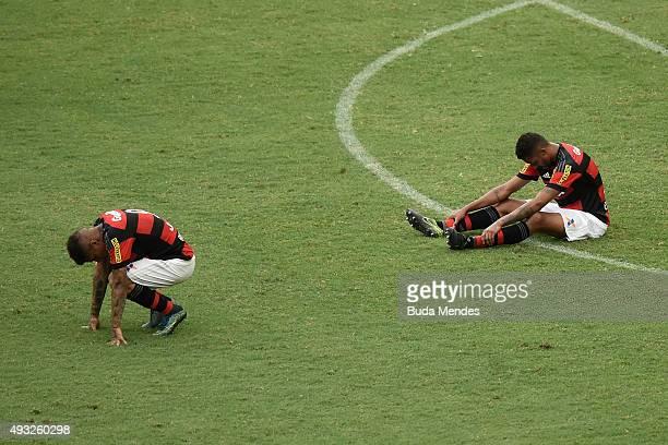 Paolo Guerrero and Kayke of Flamengo react tol a lost match between Flamengo and Internacional as part of Brasileirao Series A 2015 at Maracana...