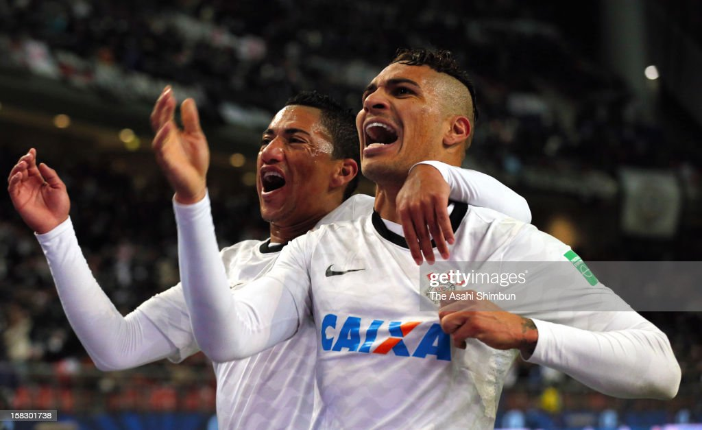 Paolo Guerrero of Corinthians celebrates his opening goal with his teammate Ralf during the FIFA Club World Cup Semi Final match between Al-Ahly SC and Corinthians at Toyota Stadium on December 12, 2012 in Toyota, Aichi, Japan.