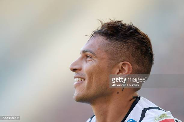 Paolo Guerrero of Corinthians reacts during the match between Flamengo and Corinthians as part of Brasileirao Series A 2014 at Maracana stadium on...