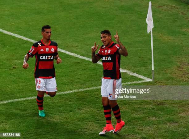 Paolo Guerrero of Flamengo celebrates a scored goal against Atletico PR during a match between Flamengo and Atletico PR as part of Copa Bridgestone...