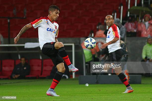 Paolo Guerrero of Flamengo during the match between Internacional and Flamengo as part of Brasileirao Series A 2015 at Estadio BeiraRio on July 08 in...