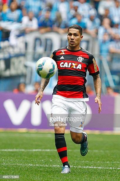 Paolo Guerrero of Flamengo during the match Gremio v Flamengo as part of Brasileirao Series A 2015 at Arena do Gremio on November 01 2015 in Porto...