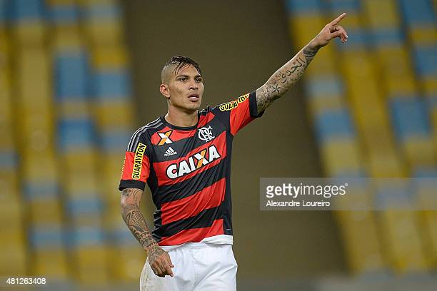 Paolo Guerrero of Flamengo in action during the match between Flamengo and Gremio as part of Brasileirao Series A 2015 at Maracana stadium on July 18...