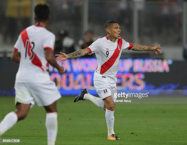 Paolo Guerrero of Peru celebrates after scoring the first goal of his team during a match between Peru and Colombia as part of FIFA 2018 World Cup...