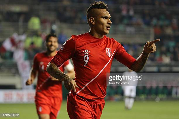 Paolo Guerrero of Peru celebrates after scoring the opening goal during the 2015 Copa America Chile quarter final match between Peru and Bolivia at...
