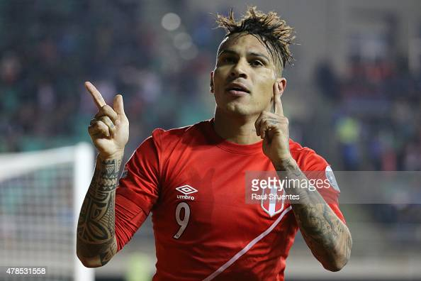 Paolo Guerrero of Peru celebrates after scoring the opening second goal of his team during the 2015 Copa America Chile quarter final match between...