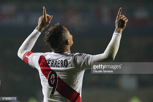 Paolo Guerrero of Peru celebrates after scoring the second goal of his team during the 2015 Copa America Chile Third Place Playoff match between Peru...