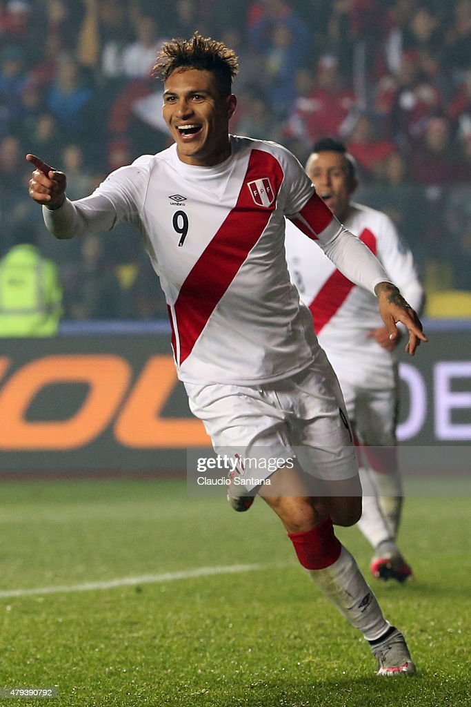 Paolo Guerrero of Peru celebrates after scoring the second goal of his team during the 2015 Copa America Chile Third Place Playoff match between Peru and Paraguay at Ester Roa Rebolledo Stadium on July 03, 2015 in Concepcion, Chile.