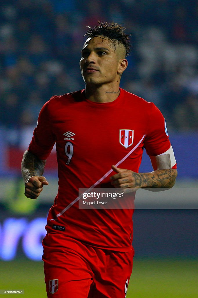 Paolo Guerrero of Peru celebrates after scoring the third goal of his team during the 2015 Copa America Chile quarter final match between Peru and Bolivia at German Becker Stadium on June 25, 2015 in Temuco, Chile.