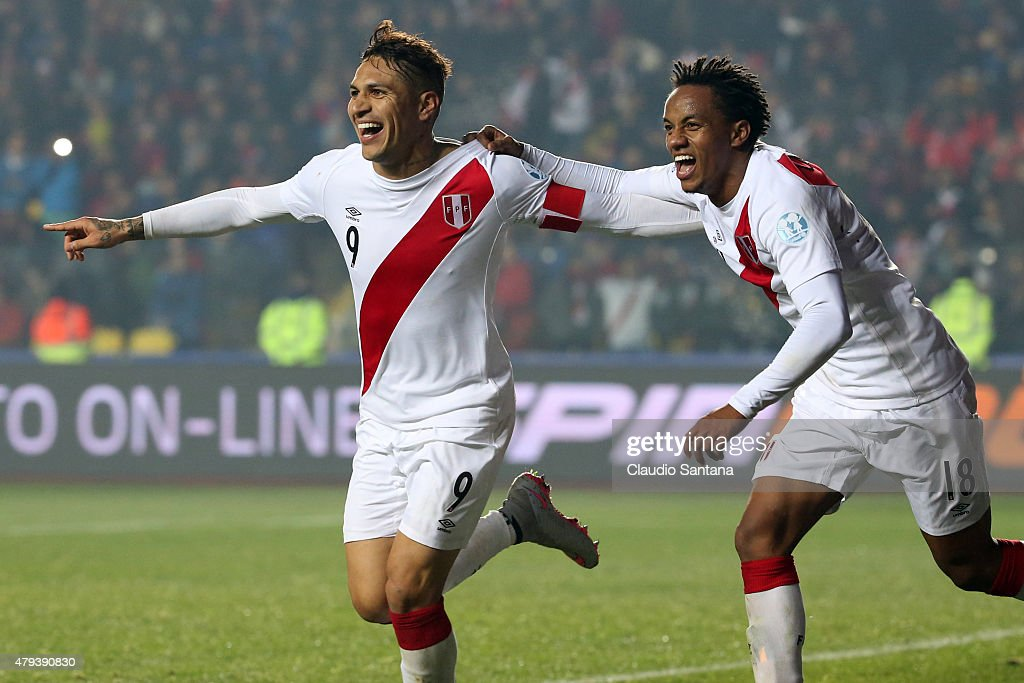 Paolo Guerrero of Peru celebrates with teammate Andre Carrillo after scoring the second goal of his team during the 2015 Copa America Chile Third Place Playoff match between Peru and Paraguay at Ester Roa Rebolledo Stadium on July 03, 2015 in Concepcion, Chile.