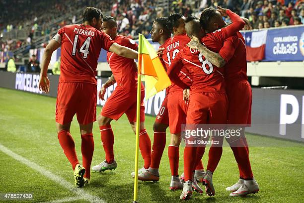 Paolo Guerrero of Peru celebrates with teammates after scoring the second goal of his team during the 2015 Copa America Chile quarter final match...
