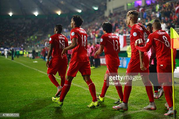 Paolo Guerrero of Peru celebrates with teammates after scoring the third goal of his team during the 2015 Copa America Chile quarter final match...